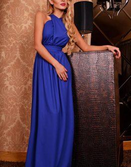 Красива бутикова рокля в синьо DPmoda