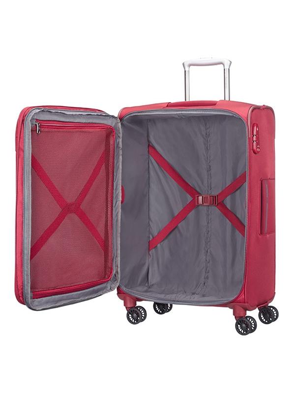 Куфар в червено на 4 колела ASPHERE
