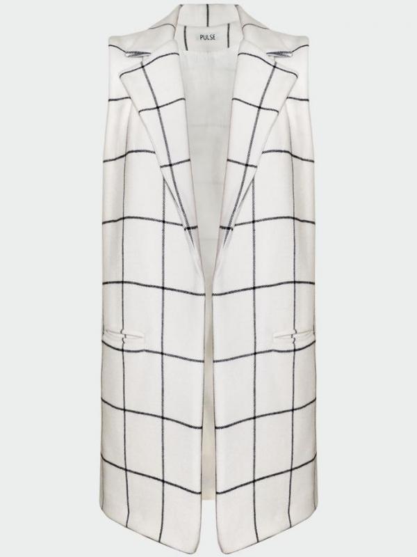 Дизайнерски елек в екрю с черно каре Pulse