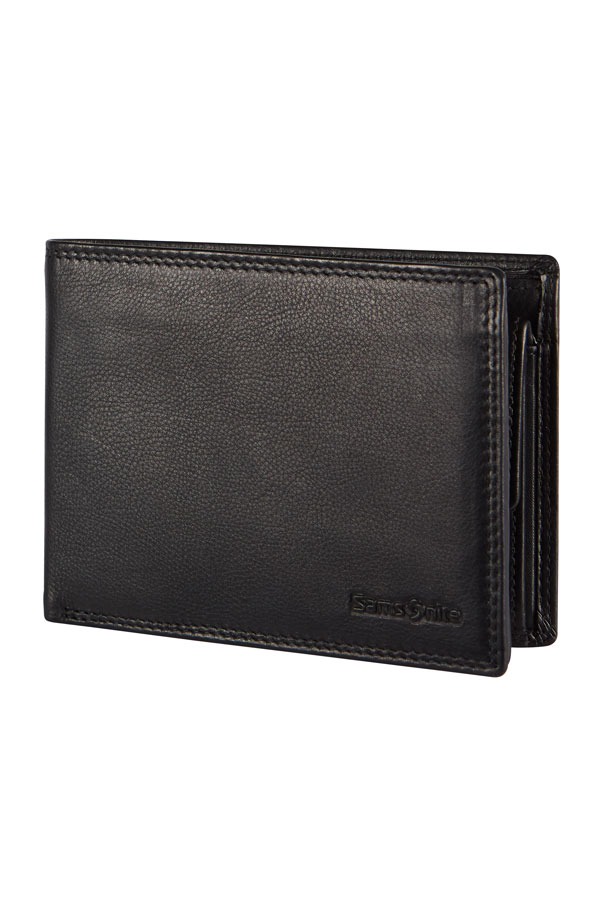 Мъжки черен портфейл от естествена кожа Samsonite