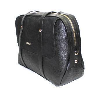 Дамска чанта от велур и кожа Sara Pen в черно