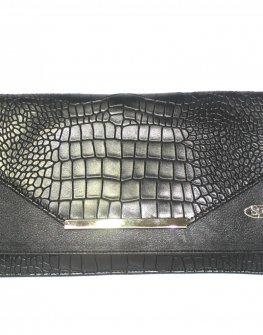 Стилен клъч в черно Sara Pen - десен крокодил