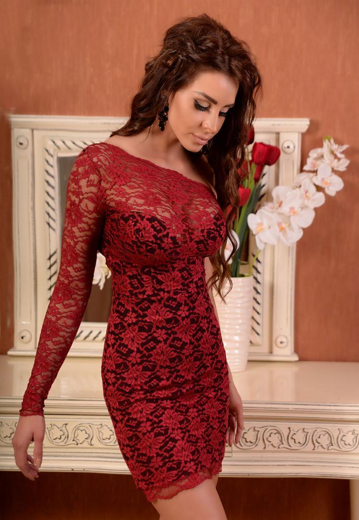 Ефектна рокля в червено и черно DPmoda