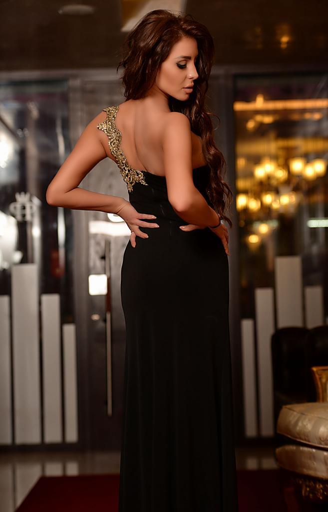 Дълга черна рокля DPmoda