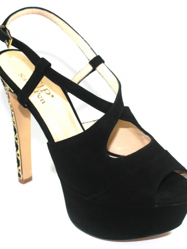 Високи дамски сандали Sara Pen от велур