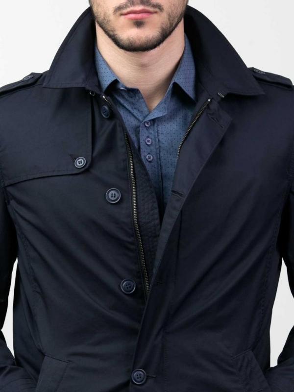 Мъжки шлифер в тъмносиньо Styler