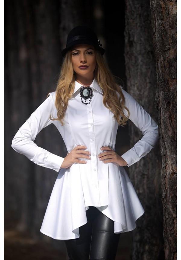 Бяла риза с издължена линия Cocoon