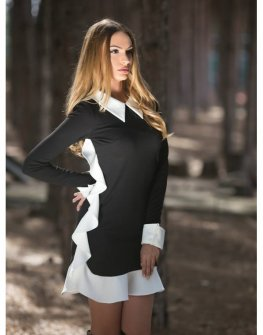 Черно - бяла рокля Cocoon