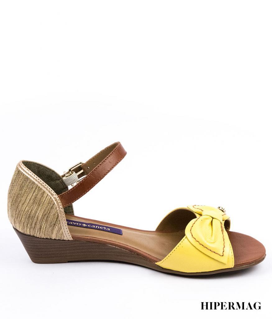 Сандали в жълто и кафяво Cravo&Canela