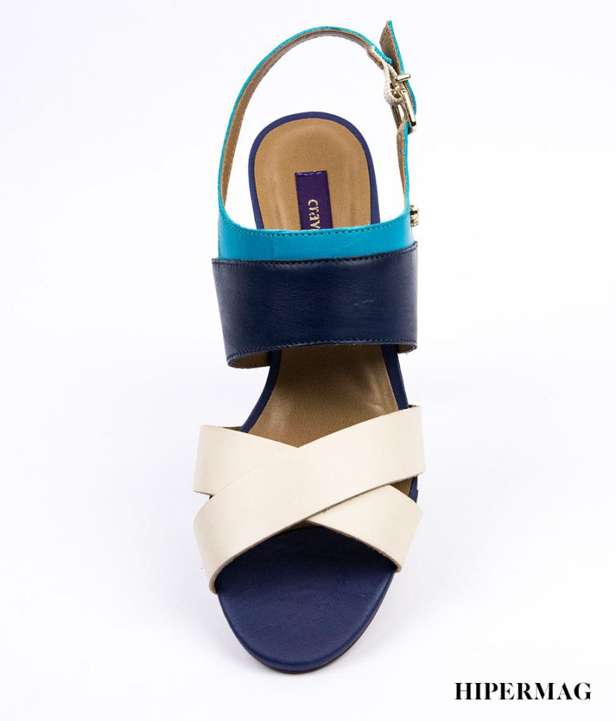 Дамски сандали в синьо и бежово Cravo&Canela