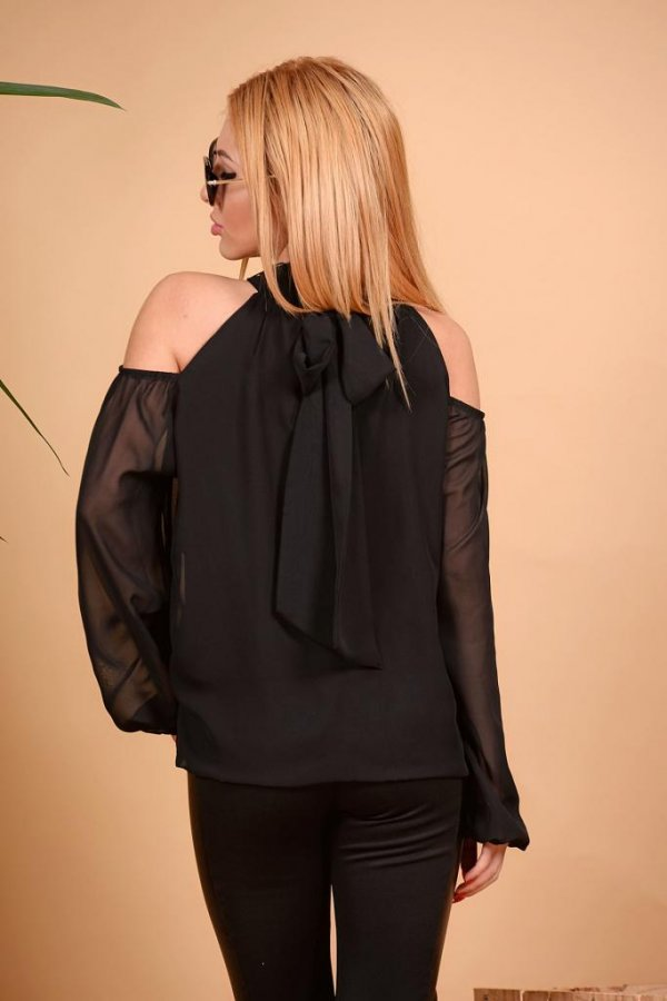 Черна риза с голи рамене DPmoda