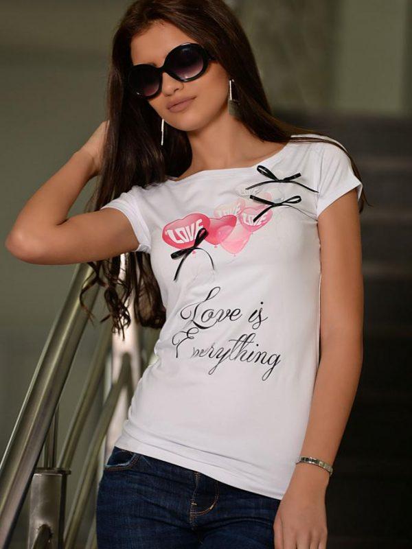 Бяла тениска с панделки DPmoda