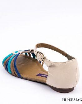 Дамски сандали в бежово и синьо Cravo&Canela
