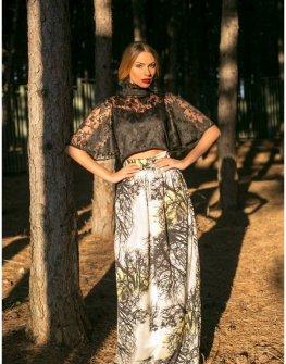 Стилна пола с висока талия и принт Cocoon
