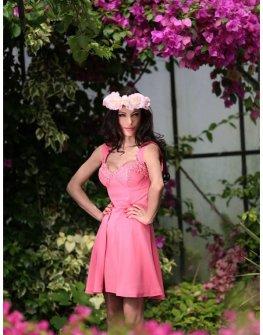 Стилна рокля в розово Cocoon