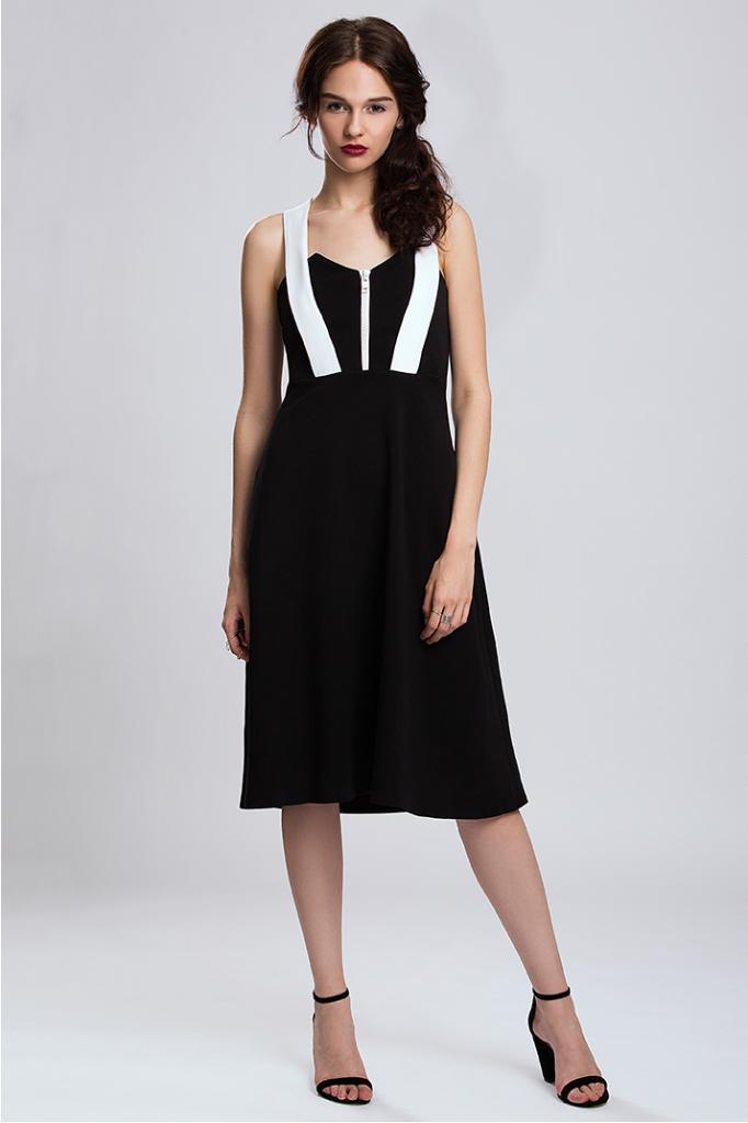 Черна дизайнерска рокля с бели акценти Pulse