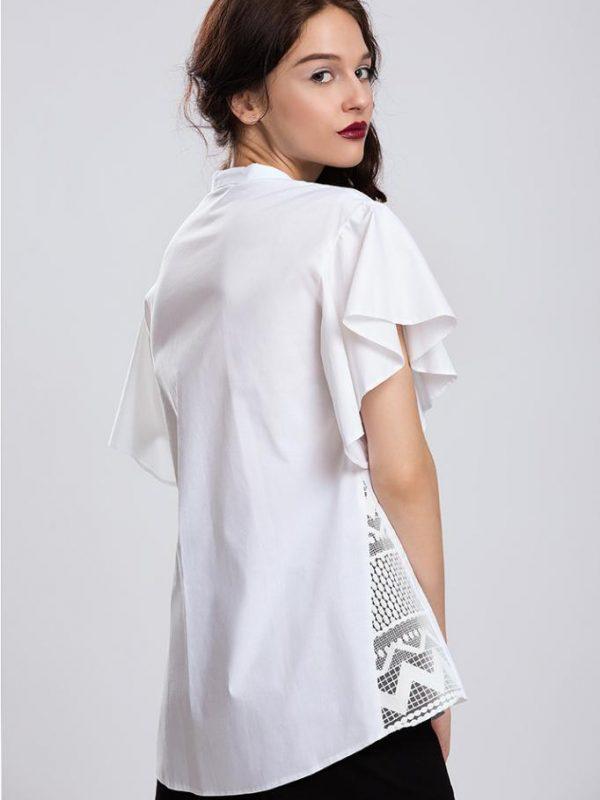 Бяла дамска риза с къс ръкав Pulse