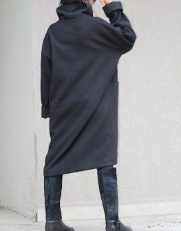 Черно дамско палто Kotyto - макси размери