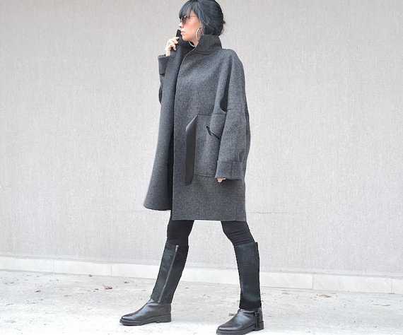 Дамско макси палто в сиво Kotyto