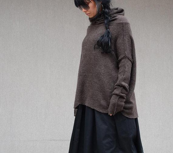 Кафяв макси пуловер Kotyto