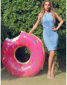 Дантелена рокля в синьо Cocoon
