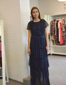 Тъмносиня дълга рокля Aggata