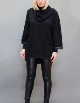Черен пуловер в макси размери Aggata