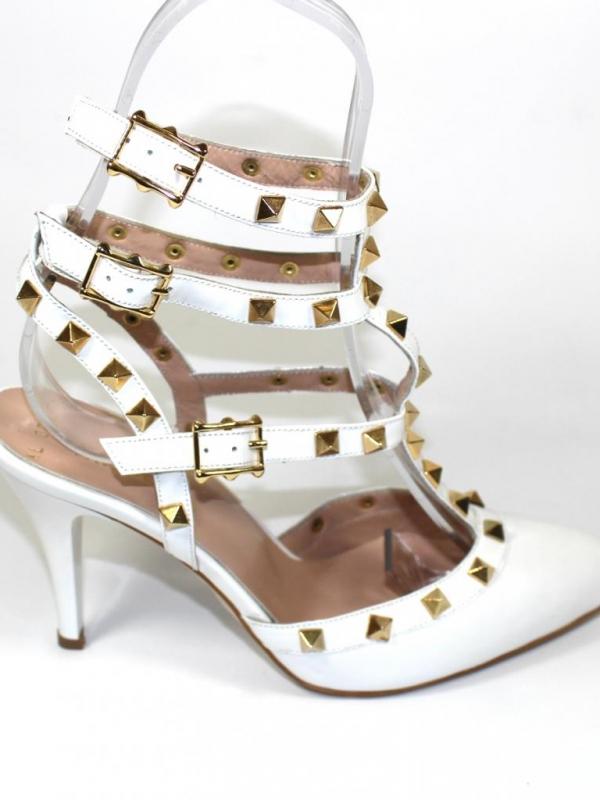 Високи дамски обувки Sara Pen в бяло