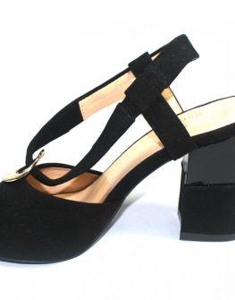 Велурени дамски сандали Sara Pen в черно