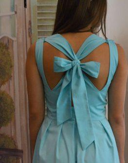 Дълга рокля в цвят тюркоаз Aggata