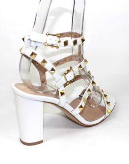 Дамски сандали на стабилен ток в бяло Sara Pen