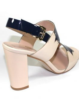Високи сандали в бежово и синьо Sara Pen