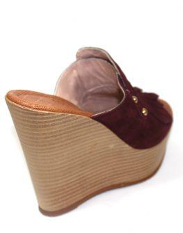 Дамски чехли в бордо Sara Pen