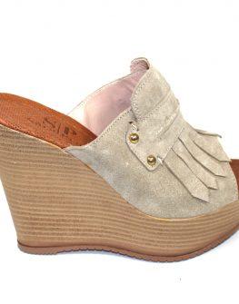 Бежови дамски чехли Sara Pen
