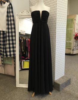 Дълга черна рокля без презрамки Aggata