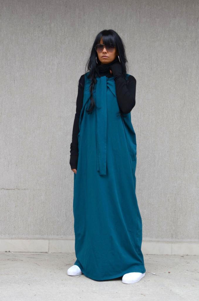 Петролено синя рокля Kotyto