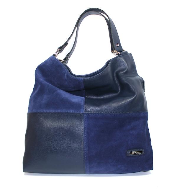 Дамска чанта Sara Pen – кожа и велур в синьо