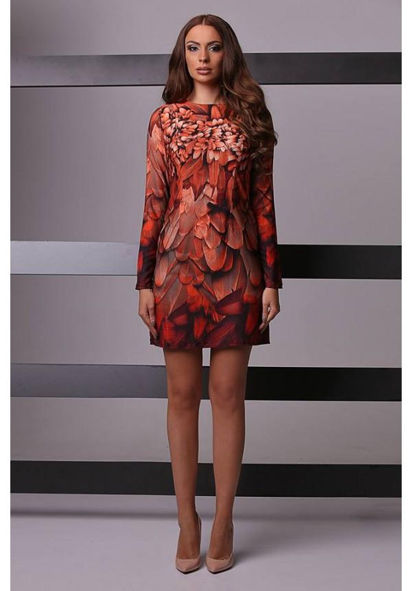 Къса рокля с принт пера Cocoon