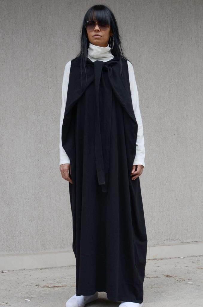Черна рокля в макси размери Kotyto
