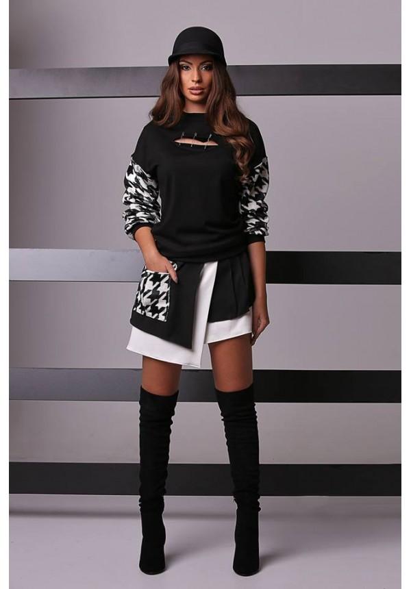 Асиметрична пола в черно и бяло Cocoon