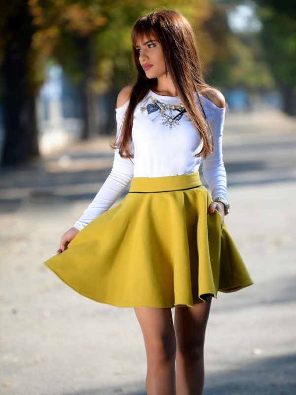 Кашмирена пола в жълто DPmoda