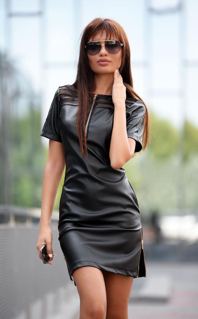 Екстравагантна рокля от кожа DPmoda