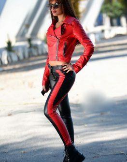 Дамски панталон в черно и червено DPmoda