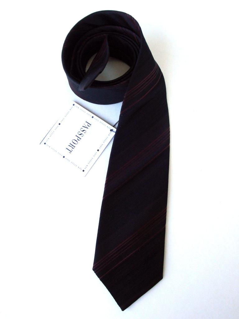Черна вратовръзка с кафяво райе New Style