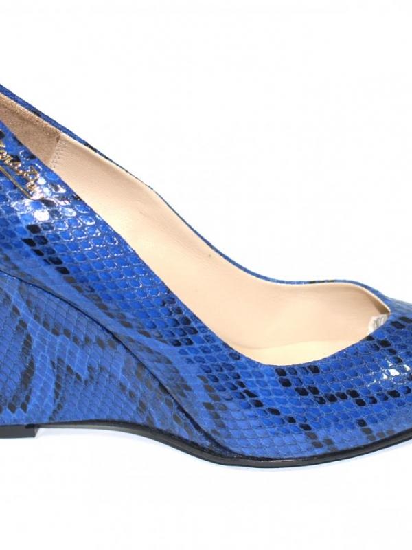 Дамски високи обувки Sara Pen - синя змия