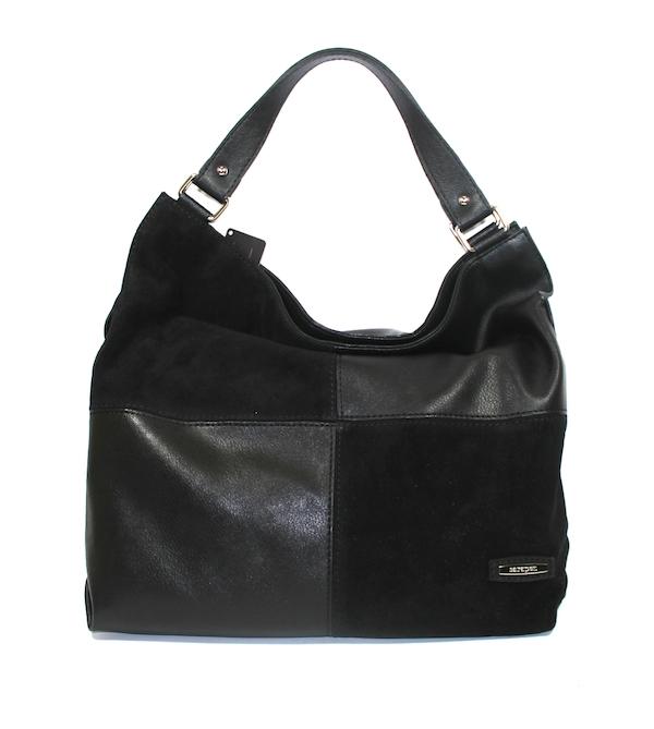 Дамска чанта от кожа и велур Sara Pen