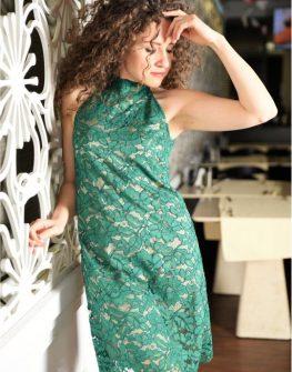 Неустоима рокля от зелена дантела Amploa Atelier