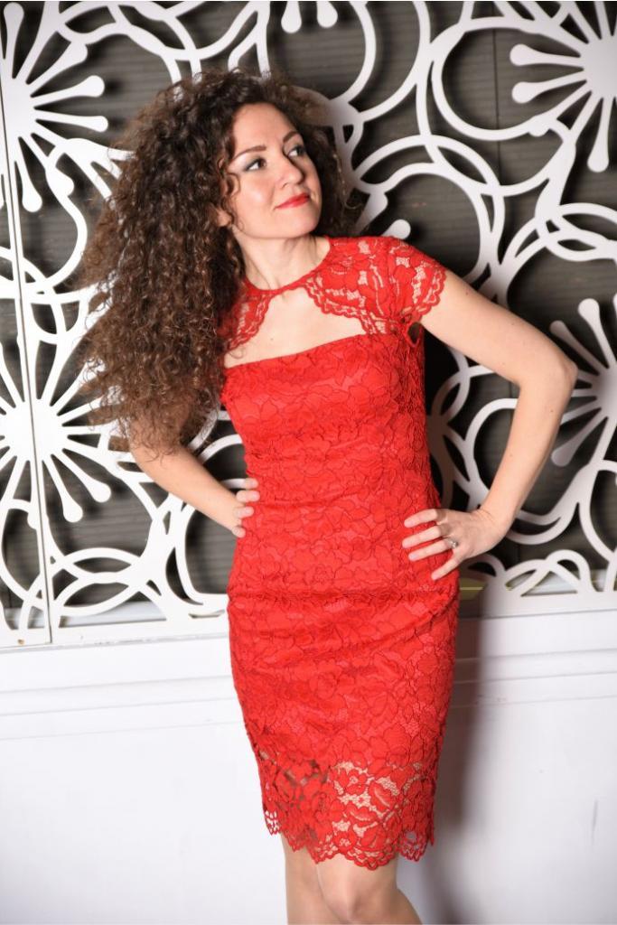 Дизайнерска червена рокля Amploa Atelier