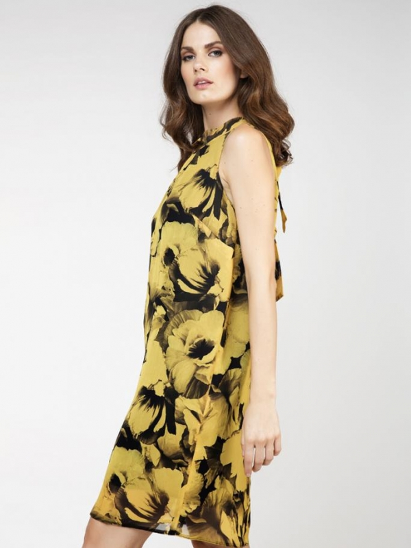 Стилна рокля с  цветен принт CONQUISTA