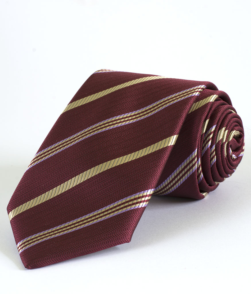 Мъжка вратовръзка в бордо със стилно райе New Style